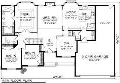 Ranch Floor Plans First Floor Plan of Ranch House Plan 73301 House Plans And More, New House Plans, Dream House Plans, House Floor Plans, The Plan, How To Plan, Plan Plan, Br House, Ranch Style Homes