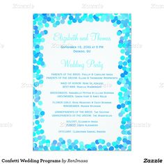 Confetti Wedding Programs 5x7 Paper Invitation Card