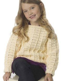 Child's Retro Ribbed Pullover - Free Crochet Pattern - (yarnspirations)