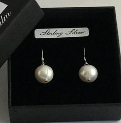 Genuine Freshwater Pearl and Sterling Silver earrings. Classic and simple.