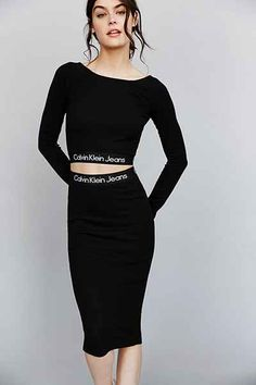 Haut court à manches longues jupe logo calvin klein jeans