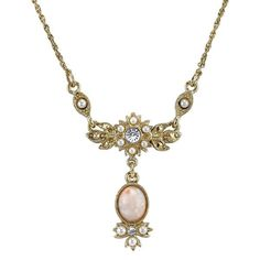Downton Abbey® Boxed Gold-Tone Peach Color Simulated Pearl & Crystal Necklace