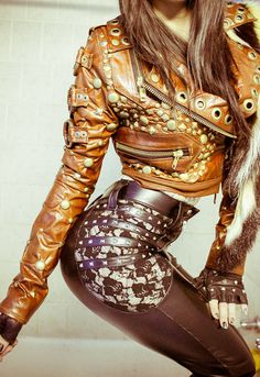 TOXIC VISION Road Warrior studded motorcycle jacket by toxicvision Glam Rock, Rock Chic, Rock Style, Style Me, Vision Clothing, High Fashion, Womens Fashion, Metal Fashion, Latex Fashion