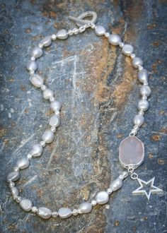 Pranella Grey Pearl Astrid Necklace