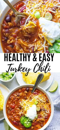 Crockpot Recipes, Soup Recipes, Cooking Recipes, Easy Turkey Chili, Crockpot Turkey Chili, Clean Turkey Chili Recipe, Crockpot Healthy Chili, Turkey Food, Turkey Meals