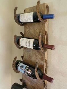 Wine Rack From Horseshoes And A Wood Plank!