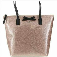 KATE SPADE rose gold sparkle purse! Pink champagne color, gorgeous sparkle with black trim. kate spade Bags