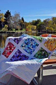audreypawdrey: postage stamp quilt each block has 100 pieces