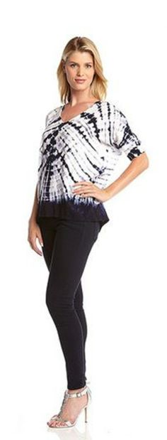 Cool and Casual Blue and White Karen Kane Tie Dye Dolman Sleeve Top #Karen_Kane #Blue_and_White #Tie_Dye #Fashion