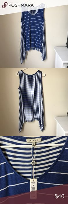 Max Studio Tank Top Never worn, size small, blue and white striped long tank top from max studio. 95% rayon, 5% spandex Max Studio Tops Tank Tops