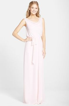 Amsale Drape Neck Wrap Skirt Chiffon Gown available at #Nordstrom