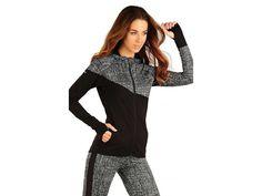 Litex Sportswear Dames sportjack Astrid met capuchon in zwart met grijs