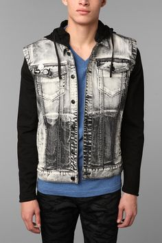 Bleached denim with knit fleece sleeves. #killcity #urbanoutfitters