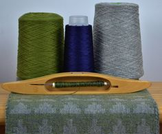 Handwoven Cashmere and Silk Ziggurat Scarf in Dark Lime and Silver Grey - perfect for Christmas