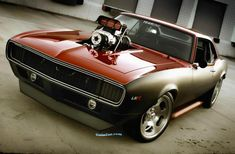 """""""The Cherry Bomb"""" 1968 Chevrolet Camaro, modern LSX engine with an old school blower on top"""
