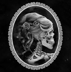 Girly skull cameo tattoo idea. LOVE LOVE LOVE