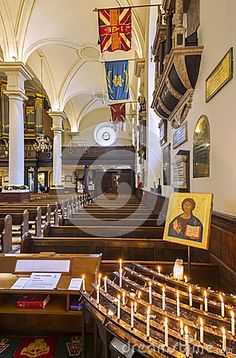 Wooden pews and alter inside Derby Cathedral in Derby City, England.