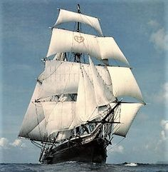 The brigantine Romance - in prevailing wind - rode the waves - to the skies end… Old Sailing Ships, Classic Sailing, Full Sail, Sea Captain, Sail Away, Tall Ships, Water Crafts, At Least, Ocean