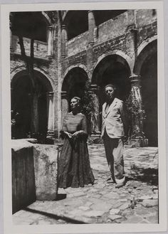 "Frida Kalo with André Breton. ""The art of Frida Kahlo is a ribbon around a bomb."" Andre Breton"