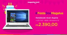 "Notebook Acer Aspire E5 Intel Core i5 - 8GB 1TB LED 15,6"" Windows 10 sem pacote office"