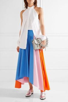 The bright colors in Peter Pilotto's Resort '17 collection are inspired by the designer's trip to Latin America. This skirt is made from panels of bright-blue, baby-pink and bright-orange cotton-poplin and is cut with an asymmetric midi hem. Keep the rest of your look pared-back with a white shirt and loafers.