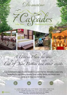7 Cascades Restaurant & Lodges - End of Year Party. Book NOW 52 90 73 80 / 52 90 73 82 / 59 41 66 61