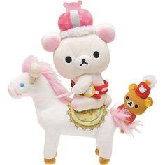 Rilakkuma Wonderland white bear on horse plushie San-X