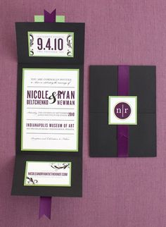 Purple and green invitations I created.