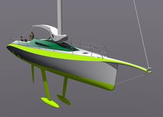 A render from the forward quarter, without sails. The shape of the bowsprit is clearly reflecting the primary inspiration, that of the hummingbird's beak.