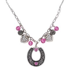 Charmed Cowgirl Pink Horseshoe Necklace (NC1281PK) | Montana Silversmiths