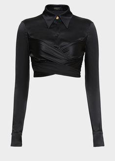 Versace Draped Satin Crop Top for Women Kpop Fashion, Fashion Outfits, Womens Fashion, Fashion Clothes, Crop Top Outfits, Casual Outfits, Gray Outfits, Fashionable Outfits, Kpop Mode