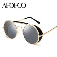 db197f10e50e AFOFOO Vintage Steampunk Sunglasses Fashion Round Glasses Brand Designer  Women Coating Mirror Sun Glasses Retro Men