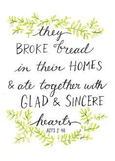 Fellowship Acts 2:46 Bible Print by LovelyLetteringByJo on Etsy #wordstoliveby