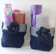 quick easy hand sewn upcycled denim storage basket, crafts, how to, repurposing upcycling, storage ideas (I would add a lining. Jean Diy, Folding Jeans, Patriotic Bunting, Denim Scraps, Storage Baskets, Storage Ideas, Storage Containers, Diy Storage, Gift Baskets