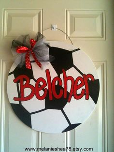 Wooden Door Hanger by on Etsy Could use Real Team colors/ball design for simple Christmas gifts for fans Soccer Room, Soccer Girls, Soccer Crafts, Wood Crafts, Diy Crafts, Locker Decorations, Burlap Door Hangers, Diy Cutting Board, Front Door Decor