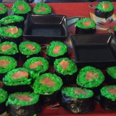 Sushi rolls- I colored the rice green for st. Patrick's day!