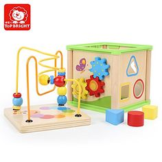 TOP BRIGHT Bead Maze and Shape Sorting Cube Wooden Box Intelligence Baby Toy //Price: $22.99 & FREE Shipping //