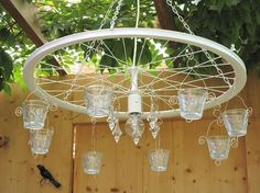 Für die Terasse oder als Stubenhängelampe, im Shabby Stil. … For the terrace or as a living room lamp, in Shabby style. If desired also in other colors. Bicycle Crafts, Bicycle Art, Bicycle Wheel, Wagon Wheel, Lights Wallpaper, Recycling, Pot Jardin, Garden Deco, Room Lamp