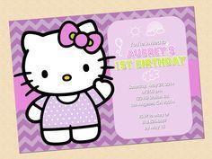 "Hello Kitty Birthday Invitation Party Digital illustration 5""X7"" Hello Kitty purple invitation on Etsy, $10.00"