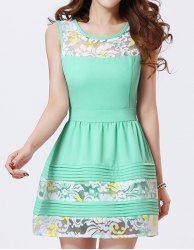$12.19 Elegant Women's Jewel Neck Embroidered Sleeveless Dress