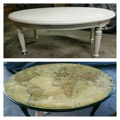 Map coffee table- My first attempt at refurbished furniture.  Upcycle, before and after, refurbish, world table, distressed, shabby
