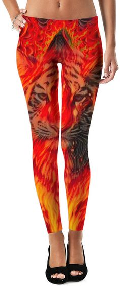 NBK Tiger Flame Trance Custom Rave Rebel Revolution Style Leggings by Willy Badu. On sale for 44.99.