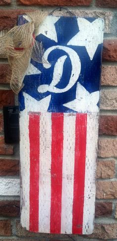 American flag outdoor decor. Distressed. Hand painted