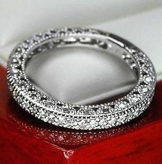UNIQUE VINTAGE GENUINE DIAMOND WEDDING BAND RING FOR WOMEN 14K SOLID WHITE GOLD wedding-ideas