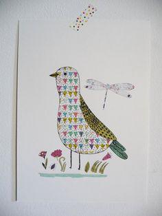I love drawing birds  http://www.etsy.com/shop/mademoiselleyo