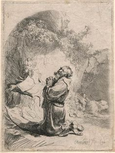 San Girolamo Praying: incurvato | Rembrandt stampe online | The Morgan Library & Museum