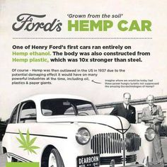 Ford's hemp car...why was it crushed. all hemp, all natural, all better. Would have decimated the industry as it was - big business couldn't allow that. Better to degrade our environment, and have oil wars for decades!