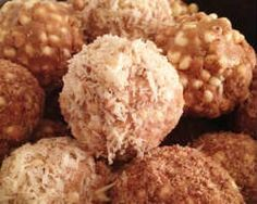 Almond Butter Balls. Almond or peanut butter, coconut oil, cacao powder, cinnamon, raw honey (or maple syrup),  puffed millet (or puffed brown rice cereal).  Optional Coating: honey, almond meal, macha powder, coconut flakes