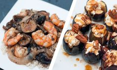 Figs Two Ways - Shrimp with Mushrooms and Figs & Baked Figs with Honey and Spiced Goat Cheese. Edible Austin