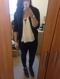 Casual - chiffon vest, cardi, jeans and suede boots